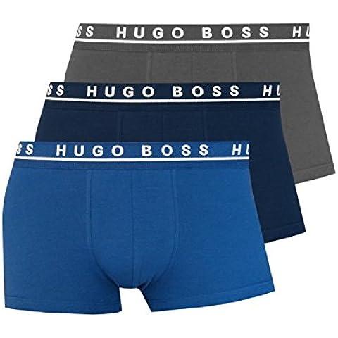 Hugo Boss Trunk 3p Co/El, Costume da Bagno Uomo, Blau/Marine/Grau, (pacco da 3 )