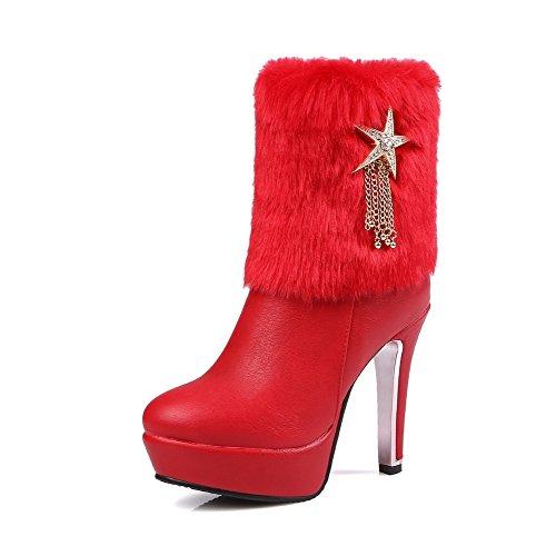 AllhqFashion Damen Gemischte Farbe Niedriger Absatz Rund Zehe Reißverschluss Stiefel, Rot, 38