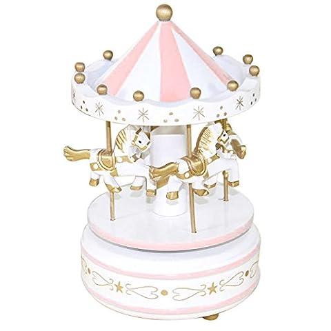 Kicode Rose Carousel Music Box Avec 4 chevaux Rotation et levage automatique Cadeaux pour Noël Anniversaire Saint-Valentin Rose
