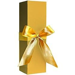 Caja para botellas–plegable para botella de vino caja de regalo vino o champán, color dorado