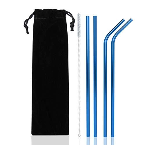 Strohhalm Wiederverwendbar - Metall Trinkhalme Für Cocktail Gläser Strohhalme - 4er Set Blau Mit Reinigungsbürste ()