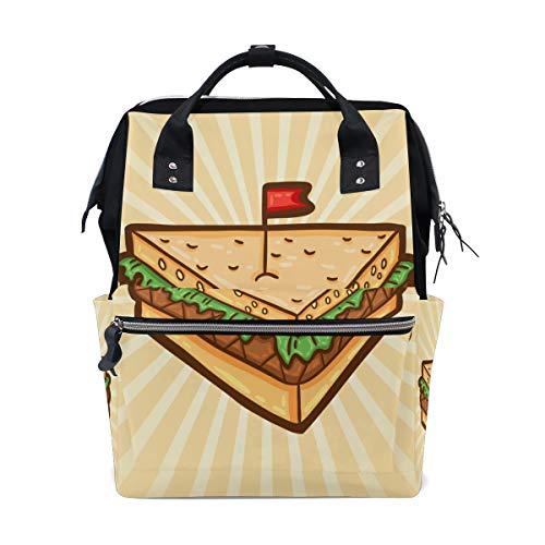 Happy Fast Food Sandwich Cartoon Große Kapazität Wickeltaschen Mama Rucksack Multi Funktionen Windel Pflege Tasche Tote Handtasche Für Kinder Babypflege Reise Täglichen Frauen Fast-food-sandwiches