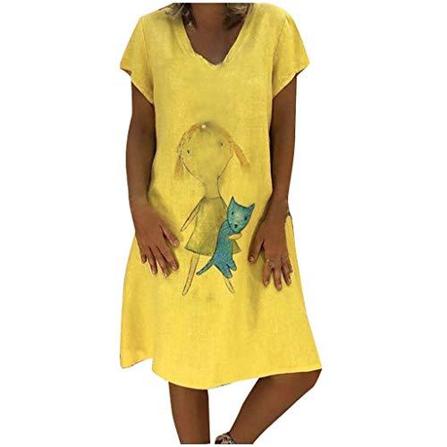 Lazzboy Frauen Tier Gedruckt V-Ausschnitt Kurzarm Dress Damen Sommerkleider Leinenkleid Lässige Kurzarmshirts Einfarbig Getäfelte Plain Tunika Strand Tragen Freizeitkleider(Gelb,XL)