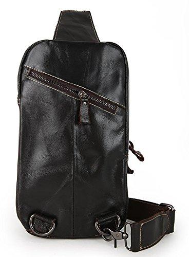 Everdoss Herren echt Leder Brusttasche Chest Pack klein Schultertasche Messenger Bag Bauchtasche Freizeittasche Kaffee