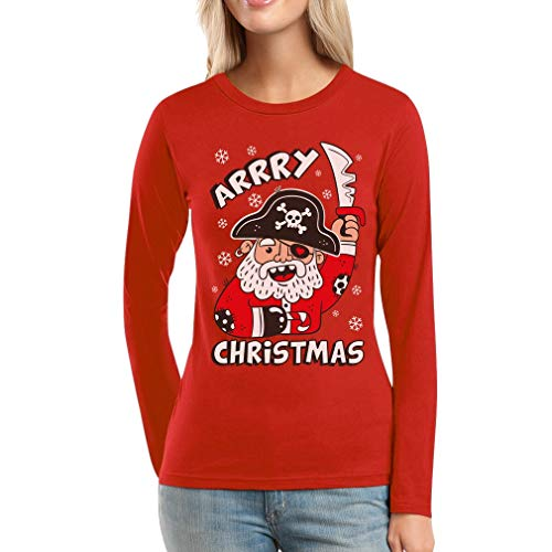 Ugly Xmas Arrry Christmas Piraten Langarm Weihnachtsshirt Frauen -