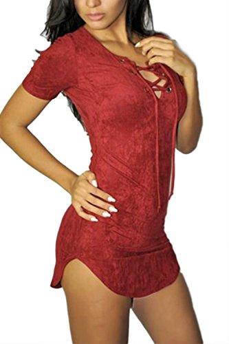 Damen Casual Kurzarm V-Ausschnitt Mini Bleistiftkleid Red