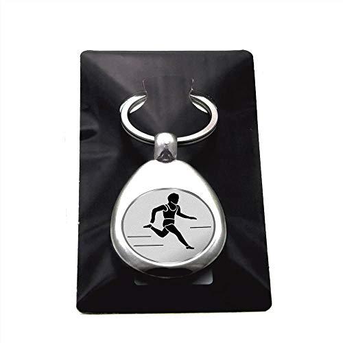 Leichtathletik Laufen Schlüsselanhänger mit Einkaufschip Sport in Silber