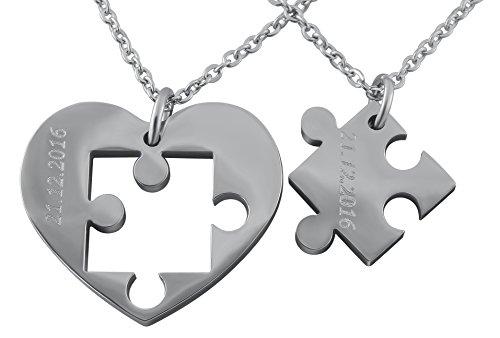Hanessa Gravierte Puzzle Herz Kette mit Wunsch Gravur Silber Partner-ketten aus Edelstahl in silber Puzzle-Teil Anhänger Schmuck für Paare