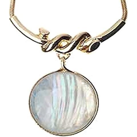 New!-Collana in oro, con pendente con pietra di luna, misura grande