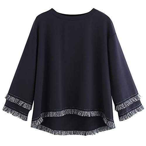YEBIRAL New Womens Solid Wild Fashion Lady Long Sleeve Tiered Fringe Tassel Sweatshirt Jumper Pullover Tops Blouse
