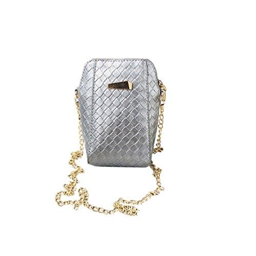 Vbiger Mini borsa a tracolla Borsa Messenger in pelle PU Borsa Crossbody a catena per donne(Nero) Argento