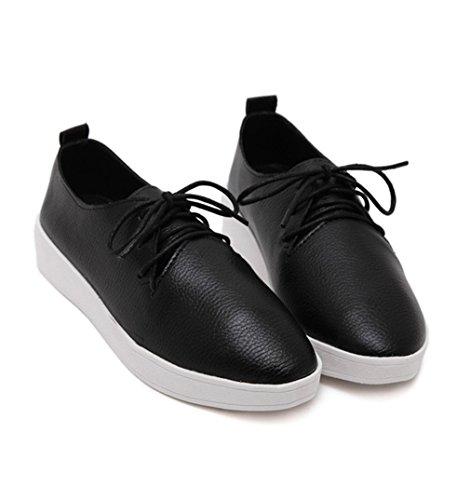 Damen Sneaker Plateau Rundzehen Einfach Weich Leicht Rutschhemmend Strapazierfähig Bequem Modisch Freizeit Sportlich Schnürhalbschuhe Schwarz