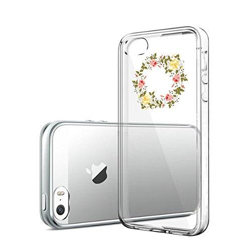 Qissy®Schutzhülle für iPhone 5 5s SE Hülle Case Silikon Hülle Schlank Transparent Weicher Gel Silikon Hülle Hübsches Mädchen und Blumen (iPhone 5 5S SE, 9) 9