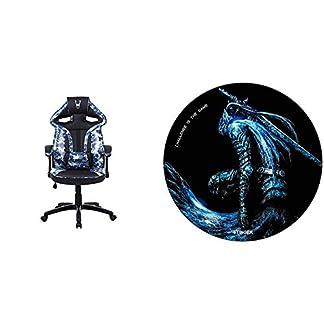 Woxter Stinger Station Army Blue – Silla Gaming Eje de Acero + Alfombrilla Gaming de Suelo