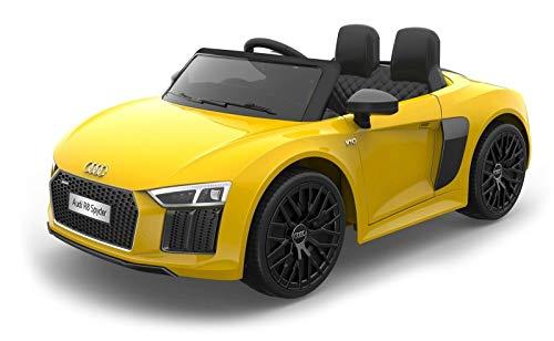 Toyscar electronic way to drive auto macchina elettrica 12v licenza audi r8 spyder per bambini led mp3 con telecomando sedile in pelle gialla