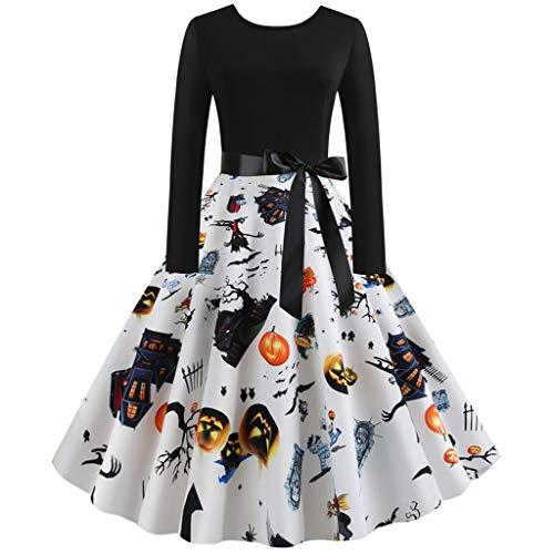 Trisee Damen Halloween Kostüm 50er Jahre Hausfrau Abend Party Prom Kleid Knielang Karneval Fasching Kostüm Festliche Kleid Pumpkin Skull Retro Cocktailkleid (Womens Billige Kostüm)