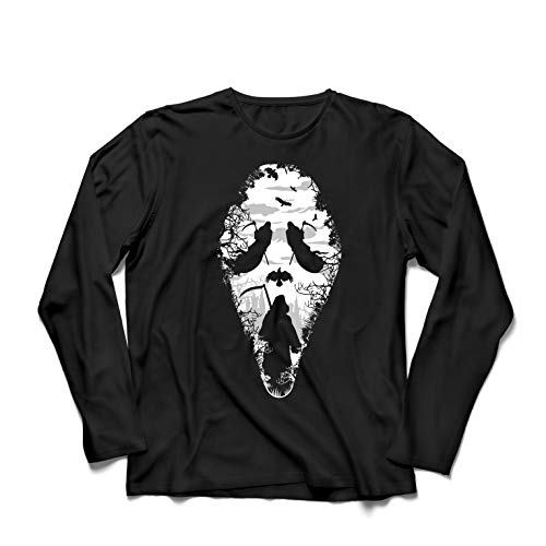 lepni.me Herren T Shirts Tribal Sensenmann Schrei - Tod gruselig beängstigend (XXXX-Large Schwarz Mehrfarben) (Beängstigend Paare Für Kostüme)