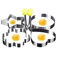 4pcs Fried Egg Shaper,Egg Ring or Pancake Patties,4pcs Egg Ring or Pancake,Patties Rings Shaped Fried Egg Mold Round Heart Pentagram Flower Household Kitchen Cooking