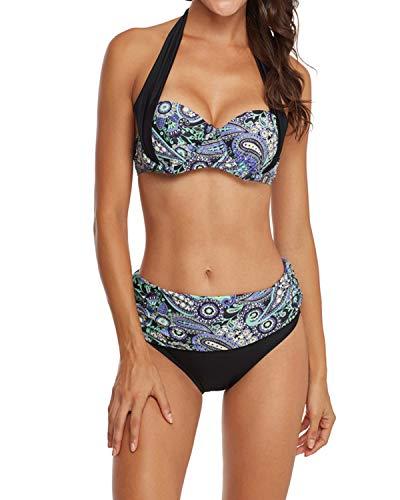 KISSLACE Damen Bikini Set Push Up Gepolstert Cups Mit Bügel Bandeau Blumen Badeanzug Bademode Monokini Zweiteilige Hoher Taille X-Lila XL