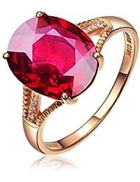 fff9d7fdfbfb Blisfille Anillo de Compromiso Mujer Diamante 18K Joyería Anillo 18 Kilates  de Turmalina Sangre de Paloma