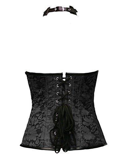 BSLINGERIE® Schwarz Openbust Steampunk Korsett-Bustier Wäsche Plus Size Corsage Schwarz (Halfter)