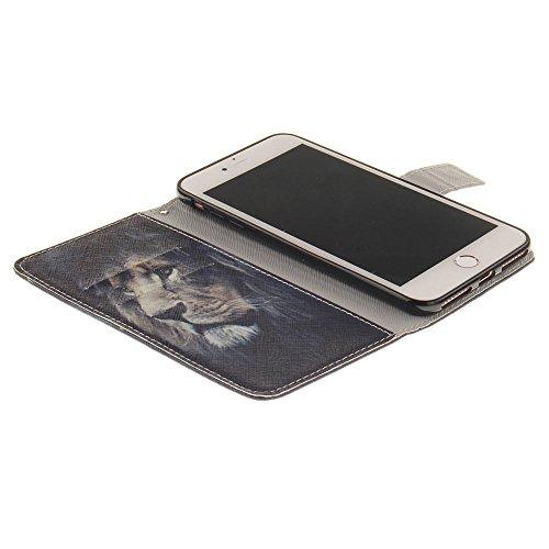"""Cuir PU Portefeuille Coque Case pour Apple iPhone 7 Plus 5.5"""", Poids léger, Folio Rabat Style Soutien / Carte Titulaire Fonction, Joli Imprimé Peinture Image Style Étui de Protection - Windbell Noir"""