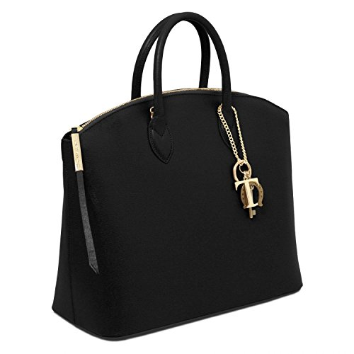 Tuscany Leather - TL KeyLuck - Borsa shopper in pelle Saffiano - TL141261 (Nude) Nero