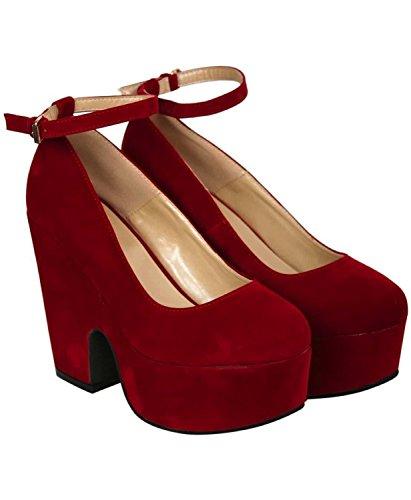 PILOT® rubis demi de coin bride à la cheville chaussures Rouge