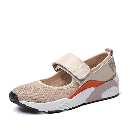 Damen Slipper Klettverschluss Mesh-oberfläche Atmungsaktiv Rundzehen Dicke Sohle Aufzug Freizeitschuhe Modische Schuhe Beige