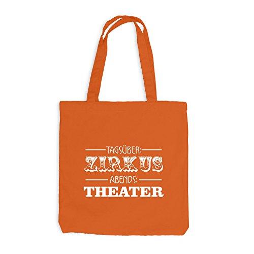 Jutebeutel - Tagsüber Zirkus - Abends Theater - Fun Style Orange