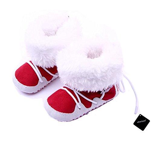 xhorizon TM FLX Madchen Baby Kids Bow Knit Woll Warm Weich Winter-Kleinkind Stiefel Schuhe Geschenk Y256 rot