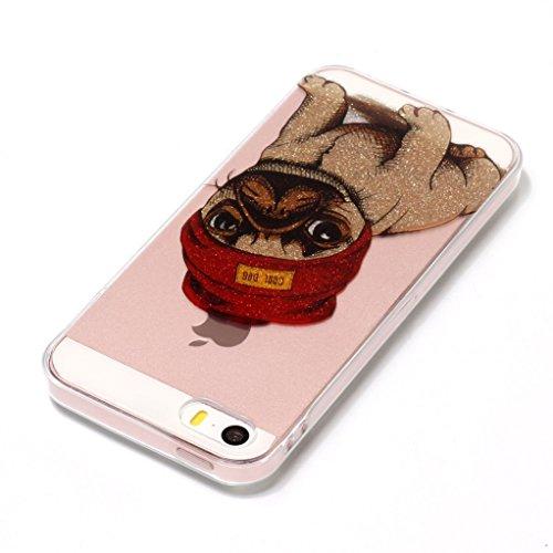 Cover iPhone 5, Yunbaozi iPhone 5S Glitter Case Custodia Siliconica Morbida Trasparente Protective Bling Case Custodia Luccichio Scintillante * Pattern Inner Mai Sbucciare * Custodia Gomma TPU Pelle F Cucciolo