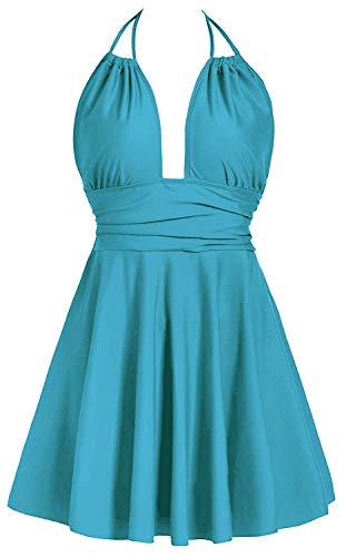 Avacoo Damen Badekleid Einteiler Badeanzug Neckholder Schwimmen Kleid Aqua M