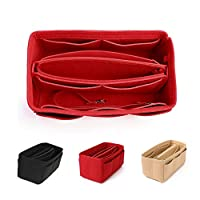 Mooedcoe Purse Organizer Insert, Felt Bag organizer with zipper, Multi Pocket Tote Shaper Fit Speedy Neverfull (Medium, Red)