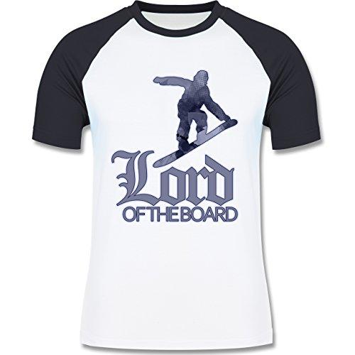 Wintersport - Lord of the board - zweifarbiges Baseballshirt für Männer Weiß/Navy Blau
