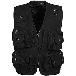 Panegy Hombres Chaleco Exterior de Algodón con Multibolsillos Posterior Removible Vest para Pesca Fotografía Negro - Talla 2XL