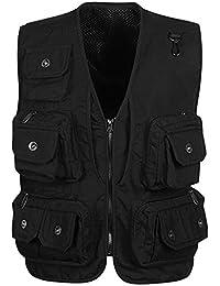 Panegy Hombres Chaleco Exterior de Algodón con Multibolsillos Posterior Removible Vest para Pesca Fotografía
