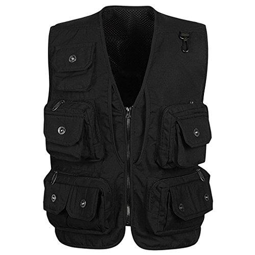 Panegy Hombres Chaleco Exterior de Algodón con Multibolsillos Posterior Removible Vest para Pesca Fotografía Negro - Talla XL