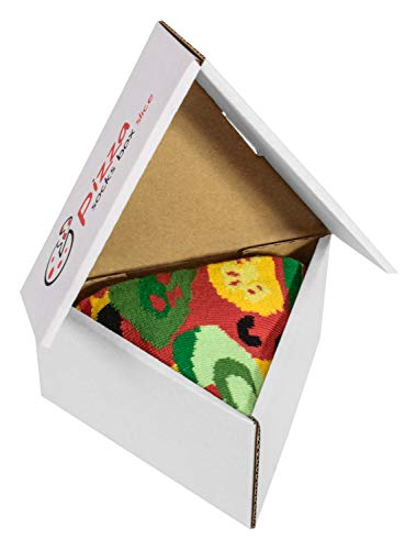 PIZZA SOCKS BOX SLICE - 1 paar Vegetarische Pizza LUSTIGE Socken - Ideal als Originelle GESCHENK - Bunt Socken - BAUMWOLLE Reich - Fun Gadget| Größen EU 41-46, Made in EUROPE Pizza Slice Boxen