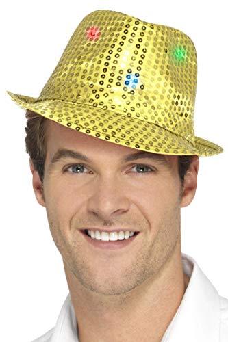 SMIFFY 'S 47069Light Up Pailletten Trilby Hat, Gold, One Size (Up Kostüm-ideen Light)