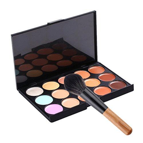 Crème Correcteur Anti Tâches 15 Couleurs Maquillage Anticernes Palette avec Un Pinceau