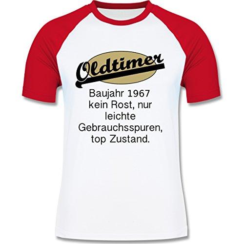 Geburtstag - 50. Geburtstag Oldtimer Fun Baujahr 1967 - zweifarbiges Baseballshirt für Männer Weiß/Rot
