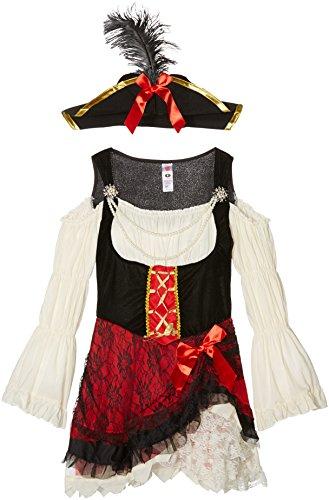 Smiffys, Damen Glamouröse Piraten Lady Kostüm, Kleid und Hut, Größe: S, (Pirat Halloween Womens Kostüme)
