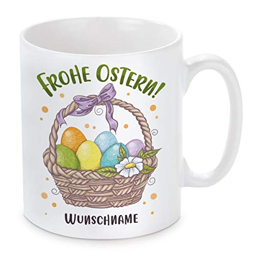 Herzbotschaft Tasse mit Motiv Modell: Frohe Ostern! (personalisiert)