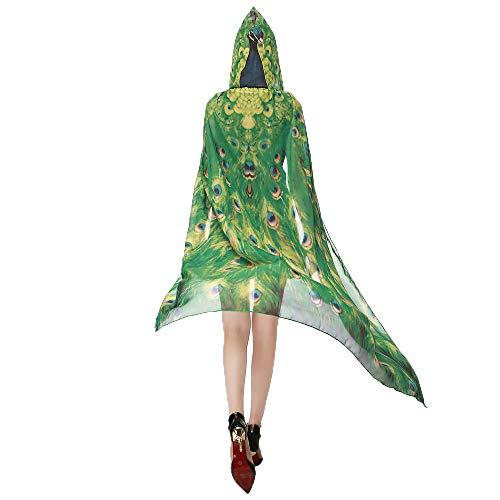 YWLINK Karneval Damen Herren Mit Kapuze Langer Umhang Chiffon SchmetterlingsflüGel Cape Schal Neuheit Print Pfau Poncho Schal ()