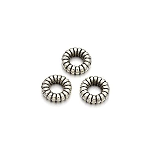 Packet of 30 x Antique Silver Tibetan 5mm Donut Spacer Beads - (HA15820) - Charming Beads