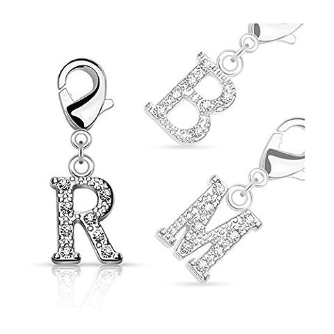 Bungsa® N - lettres d'argent cristal Charm pour collier bracelet boucle d'oreille zircon Femme Homme Enfant (Perles Pendentif ABCDEFGHIJKLMNOPRSTUV WZ)