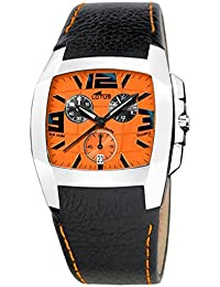 e0990fbceddd Reloj Lotus crono caballero. Correa piel negra y esfera naranja. W.R. 100 m