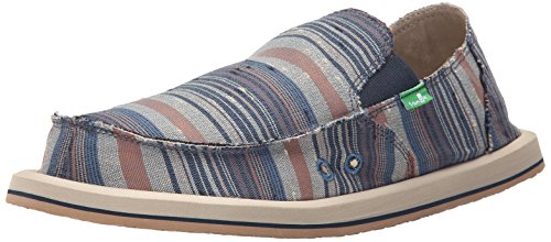 Sanuk Donny Toile Mocassin Blue Vintage Denim Stripe