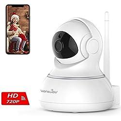 Wansview Caméra IP sans Fil, Caméra Surveillance WiFi, Caméra Bébé, Caméra Sécurité de Animal de Compagnie/Personnes âgées avec Audio Bidirectionnel, Vision Nocturne Pan/Tilt Q3 (Blanche)